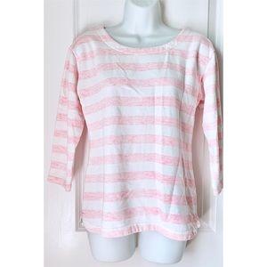 Vineyard Vines Pink Striped 3/4 Sleeve Sweater